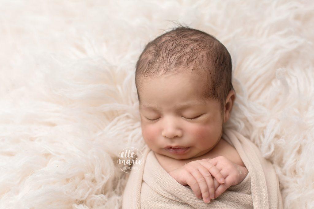 newborn baby close up of head