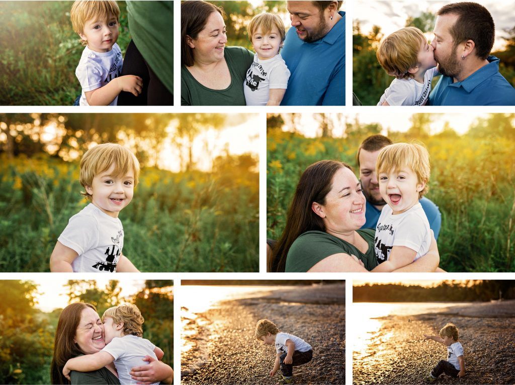 photo collage of 2 year old with parents at the beach