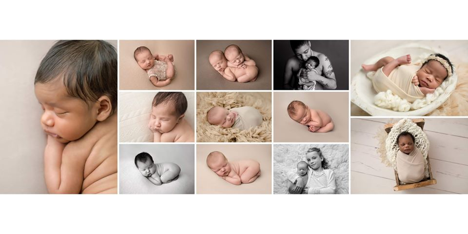 12 images for portfolio review of posed newborn babies